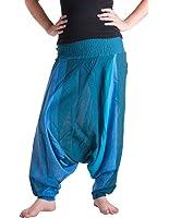 Vishes – Alternative Bekleidung – Gestreifte Sommer Haremshose aus Baumwolle mit elastischem Bund – handgewebt