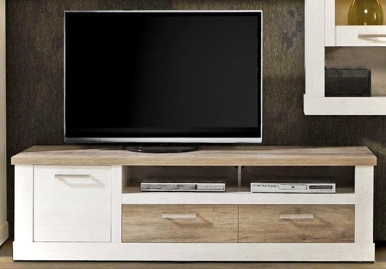 Mueble para televisor duro TV-tabla de 2 de los cajones y los dispositivos para, de madera de pino colour blanco envejecido: Amazon.es: Hogar