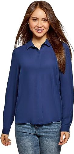 oodji Ultra Mujer Blusa Básica de Tejido Fluido: Amazon.es: Ropa y accesorios