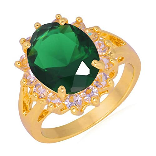 Dudee Big Green Crystal Ring Gold Color Jewelry Trendy Colorful Fancy Stone Statement Ring R352 cz engagement ring fashion rings set