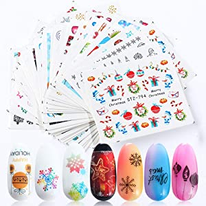 Christmas Nail Stickers Nail Art Accessories Decals 30 Sheets Snowflake Santa Claus Tree Bell Sock Snowman Elk Nail Art Stickers for Christmas Party Favor Supply Fingernails Toenails Decorations