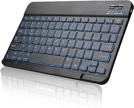 GranVela hb030 Universal Slim portátil inalámbrico Bluetooth 3.0 7-Colors teclado retroiluminado con construido en batería recargable