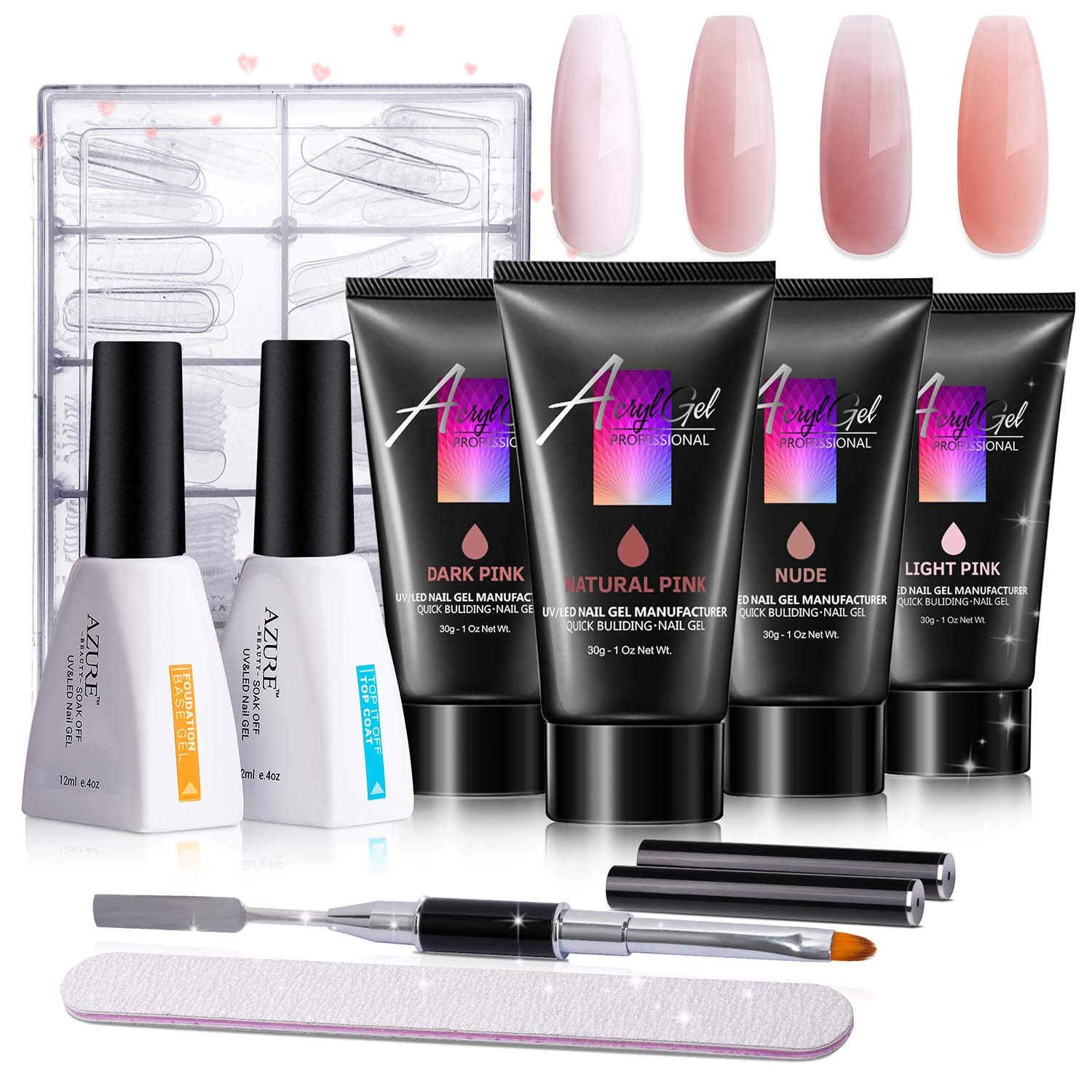 AZUREBEAUTY Poly Nail Gel Kit - 30ml/4pcs Gel Poly Nail Enhancement Builder Gel Nail Extension Poly Nail Gel Trial Kit for Starter and Professional Nail Technician All-in-One Kit by AZUREBEAUTY