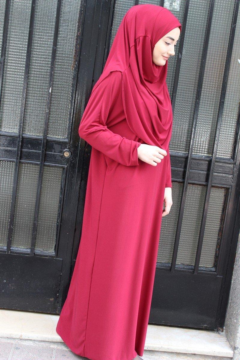 Muslim Women's One-piece Prayer Dress Abaya Ihram Set for Hajj Umrah (BURGUNDY) by OZFBA (Image #2)