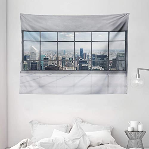Ambesonne City Tapestry, Clean Office with Big Window Downtown Skyscraper Buildings Domestic Cityscape Art, Wide Wall Hanging for Bedroom Living Room Dorm, 80 X 60 , Grey Blue