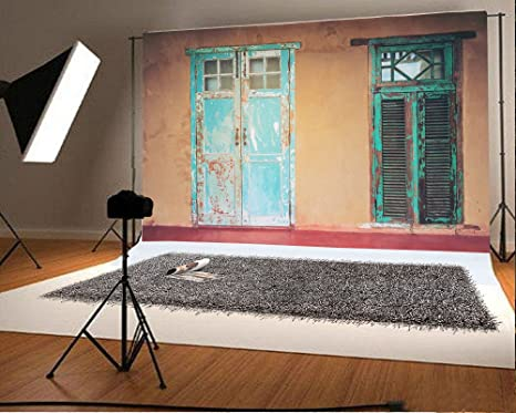 Laeacco 7x5ft Vinyl Backdrop Vintage Style Old House Interior Door And Windows Photography Background Indian Building Exterior Blue Painted Shabby