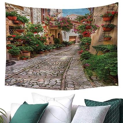 Amazon.com: Tuscan Wall Art Tapestry Historical Street ...