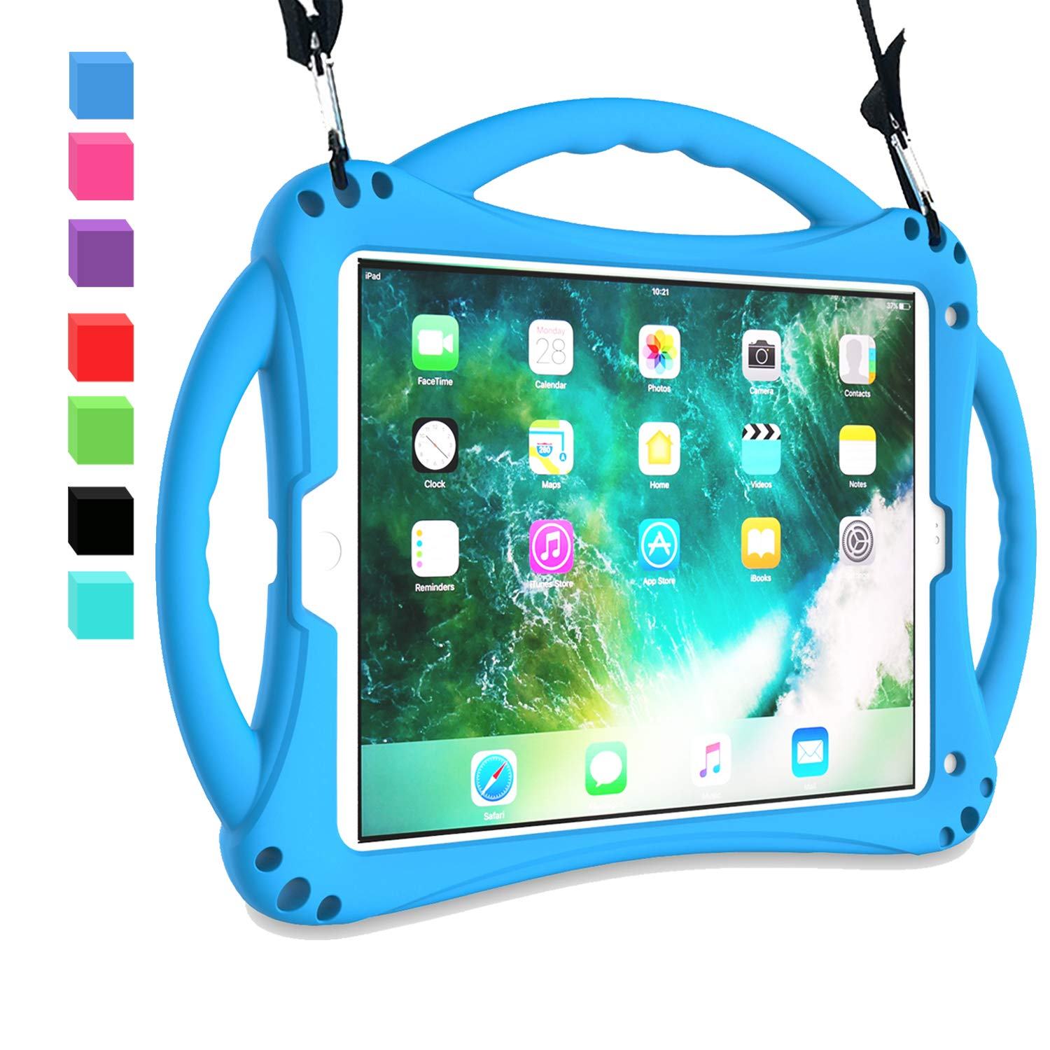 AVAWO New iPad 9.7 2018/2017 Case - Shockproof Silicone Handle Stand Kids Case with Shoulder Strap for Apple New iPad 9.7 inch 5th / 6th Previous Generation and iPad Air - Blue