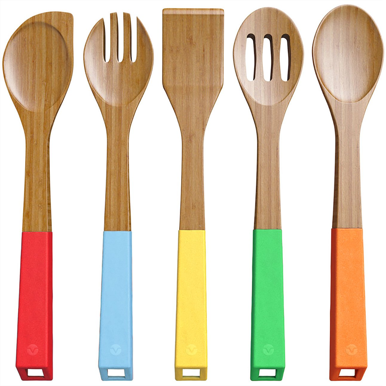 Amazon.com: Vremi 5 Piece Bamboo Spoons Cooking Utensils - Wooden ...