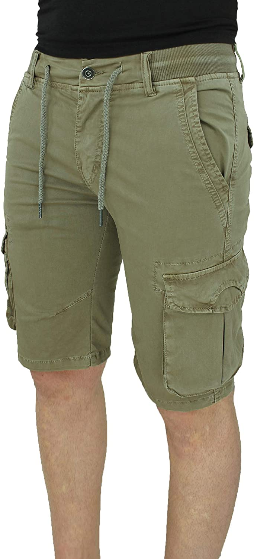 Evoga Jeans Pantaloni Corti Uomo Cargo Blu Denim Casual con tasconi Laterali