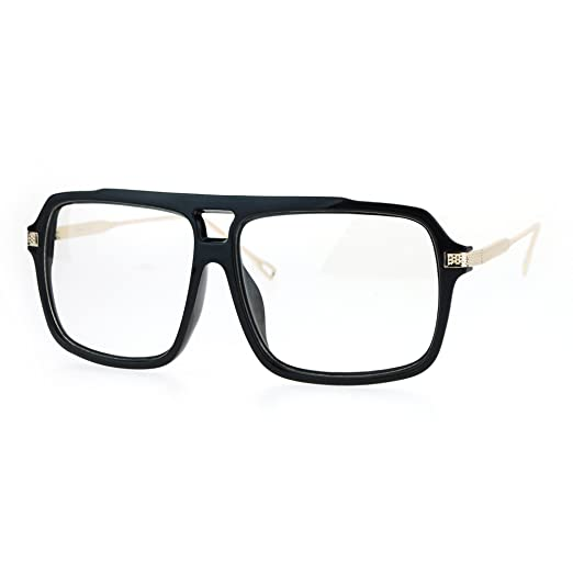 79a863a4553 Clear Lens Glasses Mens Fashion Square Frame Eyeglasses UV 400 Black Gold