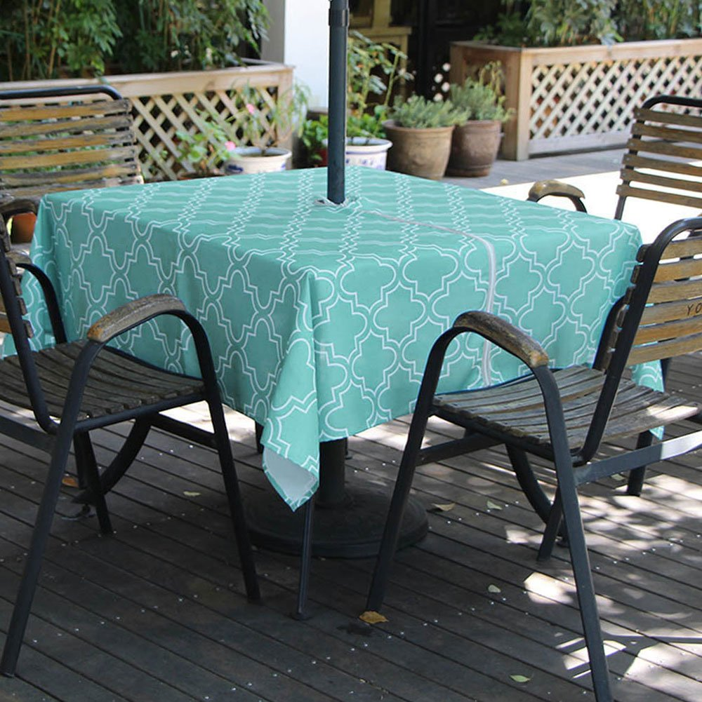 iisutas Outdoor Patio Tablecloth with Umbrella Hole and Zipper Rectangle 60 x 84 Inch, Flower Seats 6 to 8 People Water and Stain Resistant Fabric Table Cloth for Umbrella Table