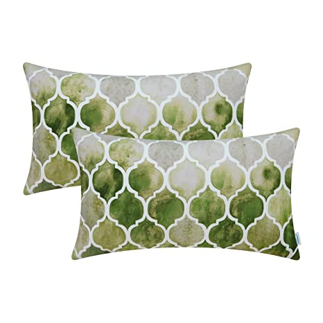 Review CaliTime Pack of 2 Cozy Bolster Pillow Cases Covers Couch Bed Sofa Manual Hand Painted Colorful Geometric Trellis Chain Print 12 X 20 Inches Main Grey Green Olive