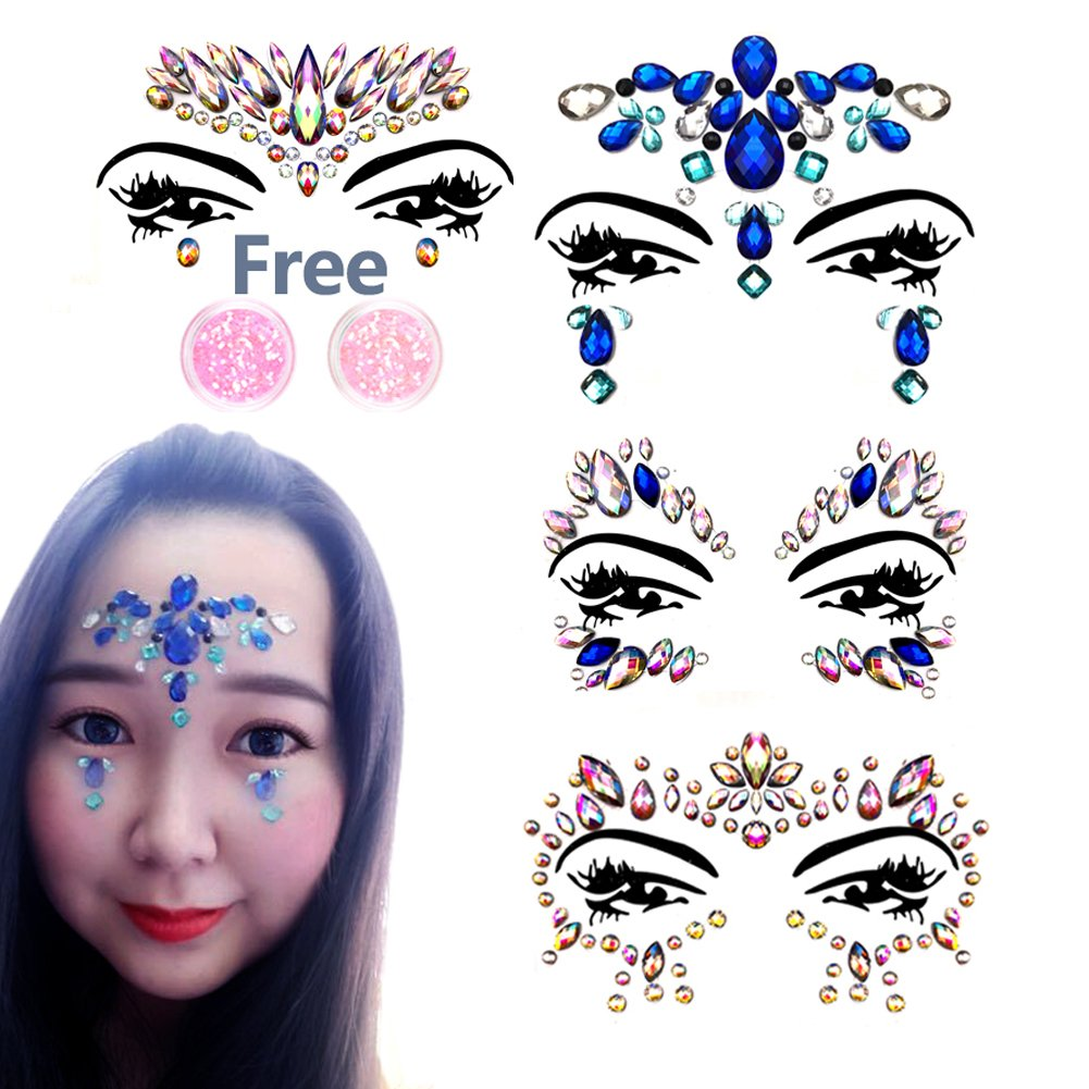 Face Gems Glitter - 4 Pack Face Jewels Face Stickers with 2 Body Glitter for Festivals NORTHERN BROTHERS Ltd.