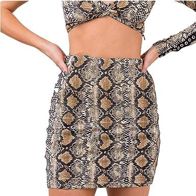 9c75b12d12 Amazon.com: Women Pencil Skirts Sexy Bodycon Skirt Sexy Elastic Snakeskin  Mini Skirt: Clothing