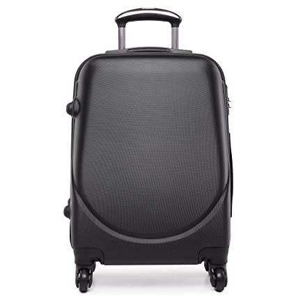 96625f4be Kono Hard Shell 4 Wheels Hand Luggage Suitcase Cabin Light Plain Trolley  Travel Bags (Black): Amazon.co.uk: Luggage