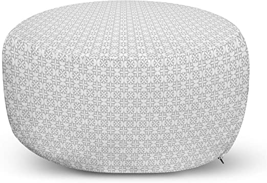 Knitting Theme Chevron Pixel Art Pattern Scandinavian Ornament Classic Motifs Grey White Black Ambesonne Nordic Ottoman Pouf Decorative Soft Foot Rest with Removable Cover Living Room and Bedroom