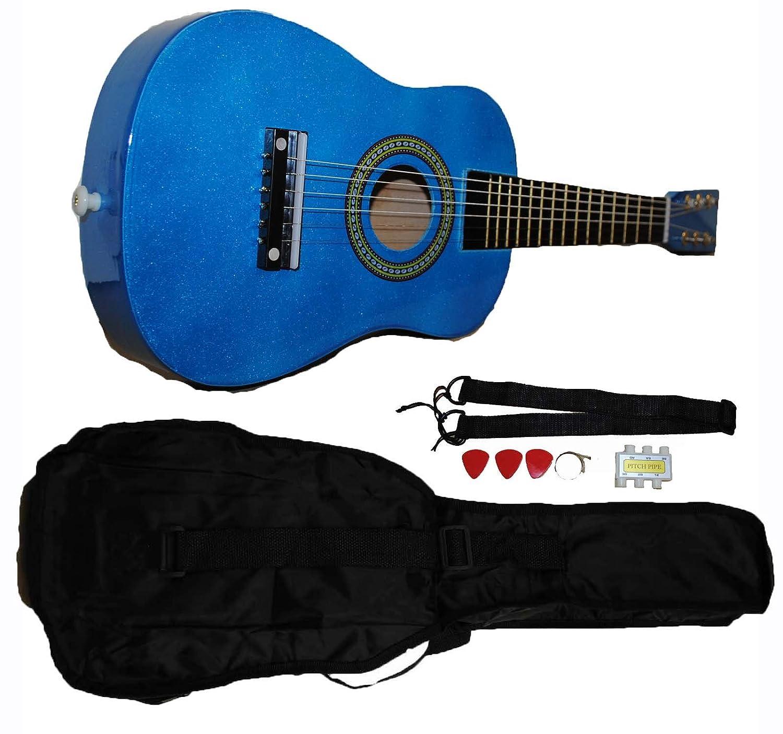 Mini Kids Acoustic Toy Guitar Kit Gig Bag + Picks + Strap + Tuner - Glitter Red Shop4Omni
