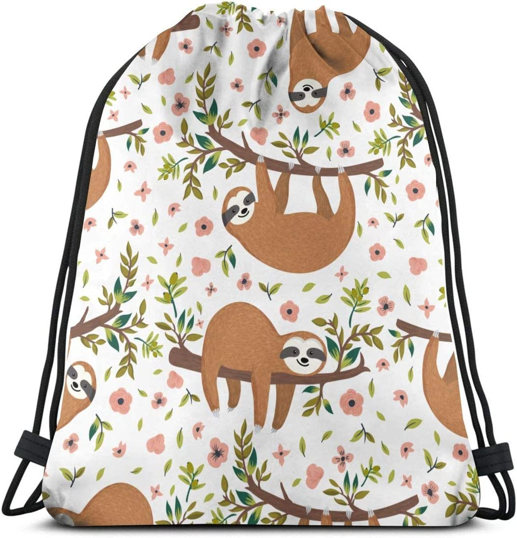LOKIDVE Women's Cute Sloth On Tree Drawstring Backpack Sport Yoga Sack Shoulder Bags for Outdoor Hiking Travel