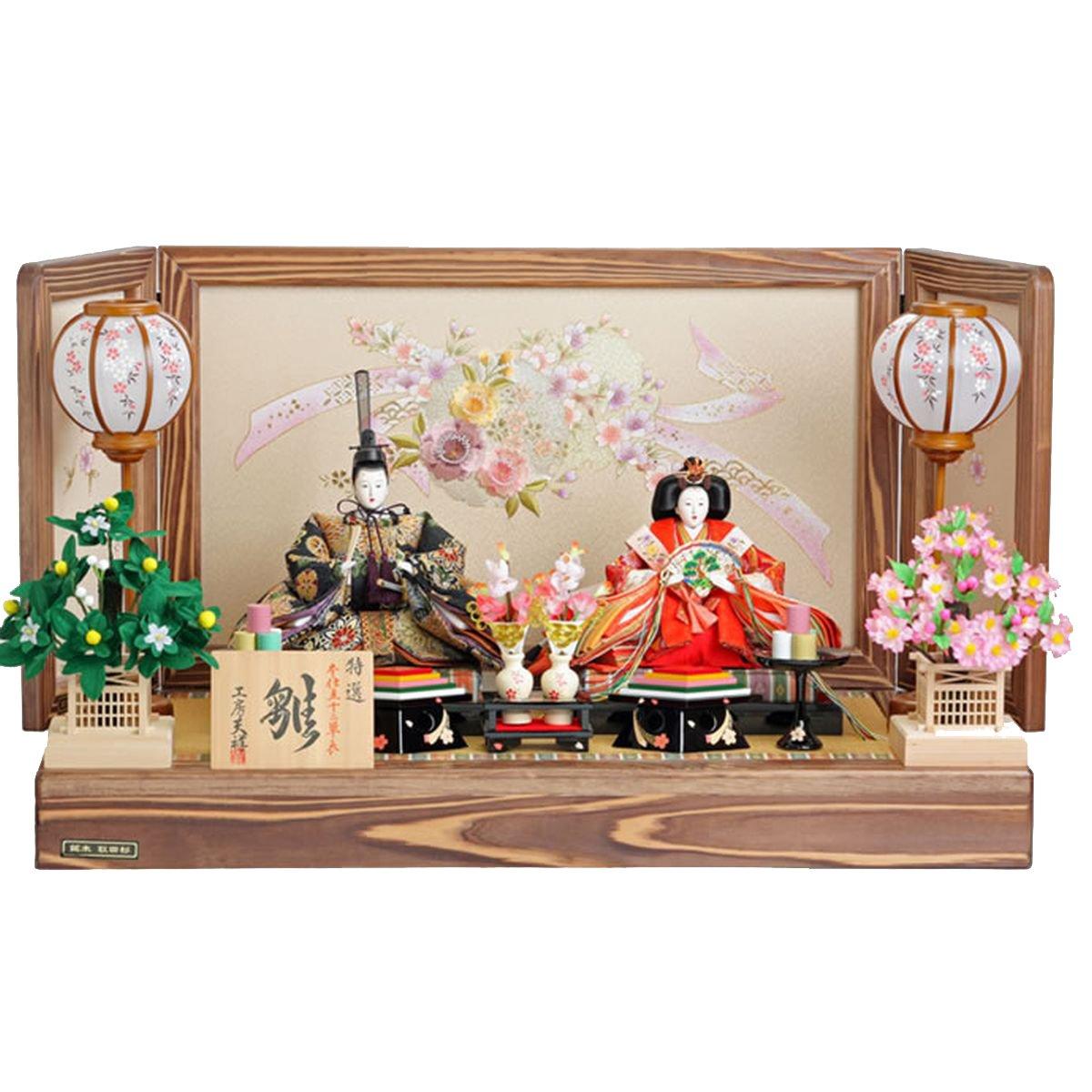 人形工房天祥 雛人形 親王飾り 細部にこだわる、杉の木使用の台屏風 間口80cm×奥行45cm×高さ47cm nas2117   B00ARBLVGO