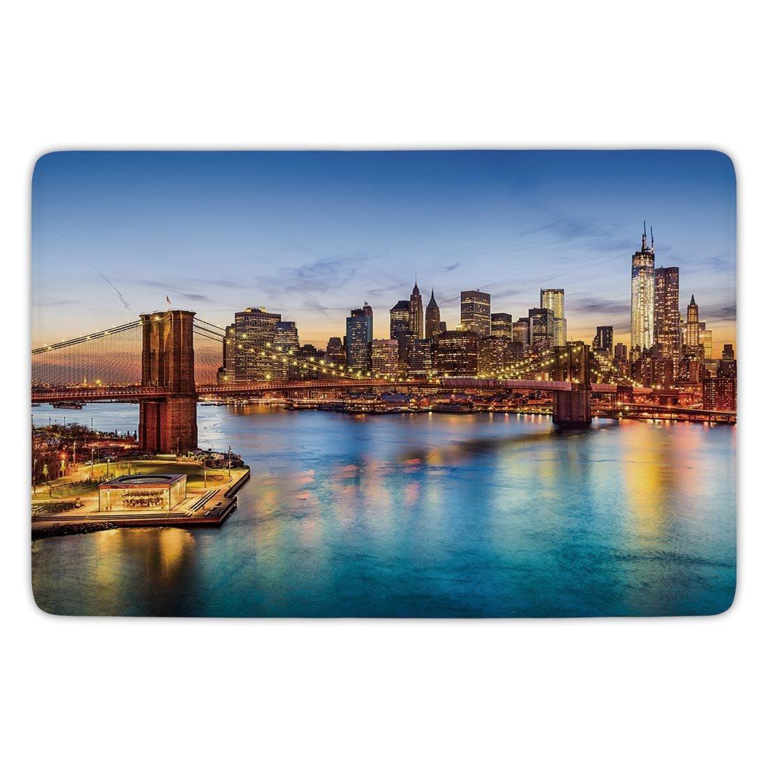 Bathroom bath rug kitchen floor mat carpetunited statesnew york city skyline over east river brooklyn bridge twilight decorativeblue dark orange yellow