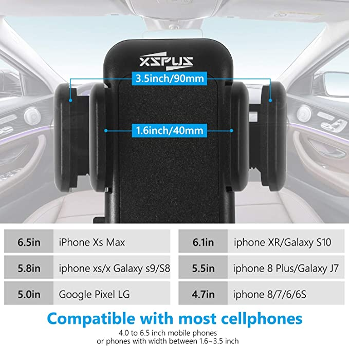 Strong with 360 Degrees Rotation One Hand Operation XSPUS Air Vent Car Phone Mount No Tools Universal Car Phone Holder Manual clamping Compatible all 4 to 6.5 inch Smart Mobile Phone Stand for Car