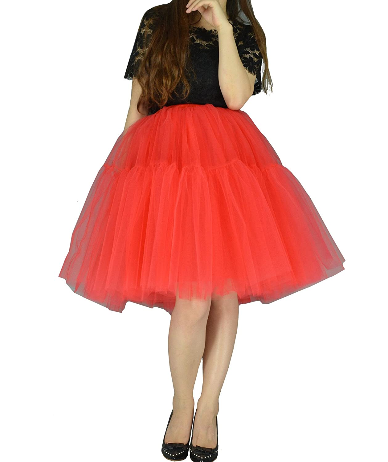 YSJERA Women's 6 Layered Adult Tutu Tututs Tulle Midi A Line Petticoat Prom Party Skirt