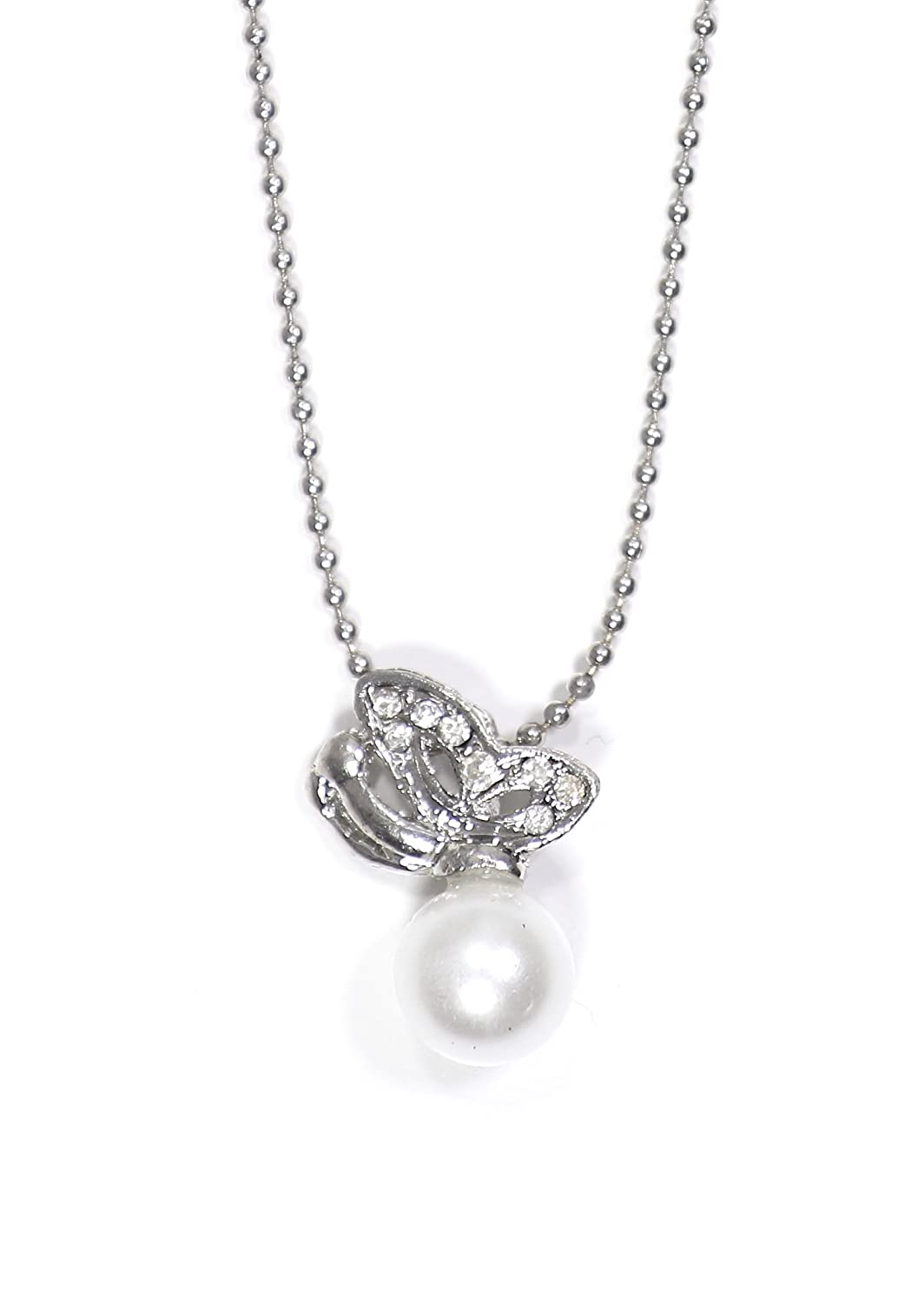 Magic Metal Crystal Butterfly Necklace Vintage Silver Tone Faux Pearl Charm SN31 Antique Moth Pendant Fashion Jewelry