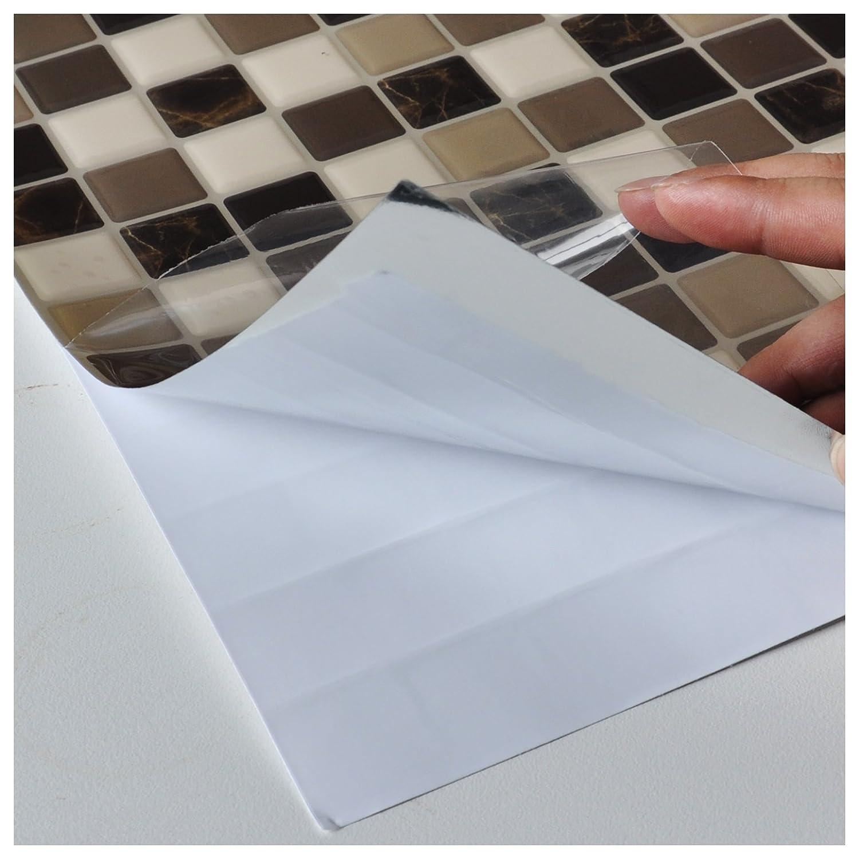 Amazon.com: Art3d 6-Pack Backsplash Tile for Kitchen Marble Square ...