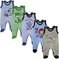 MEA BABY Unisex Baby Strampler mit Aufdruck aus 100% Baumwolle im 5er Pack. Baby Strampler für Mädchen Baby Strampler für Jungen