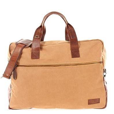 8ace809256a61 LECONI Weekender kleine Reisetasche Handgepäck für Damen + Herren  Fitnesstasche Sporttasche vintage Natur echtes Leder +