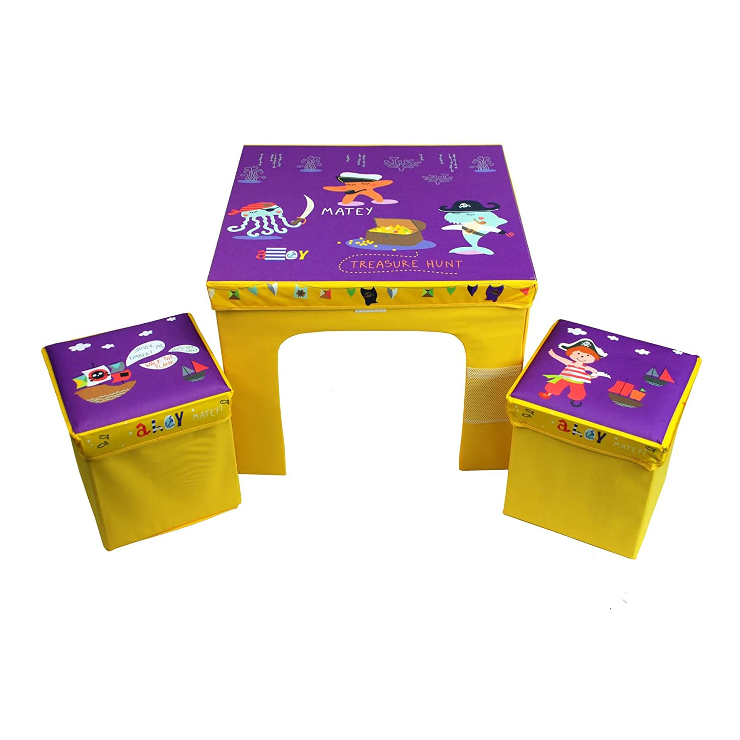 CrazyGadget® Children's Table and 2 Storage Bin Style Chairs Furniture Set Bright Colourful Set Flat Pack Collapsible Childs Junior Fabric Furniture Set Available in Princess, Pirate, Fox & Raccoon and Animal Train themes.
