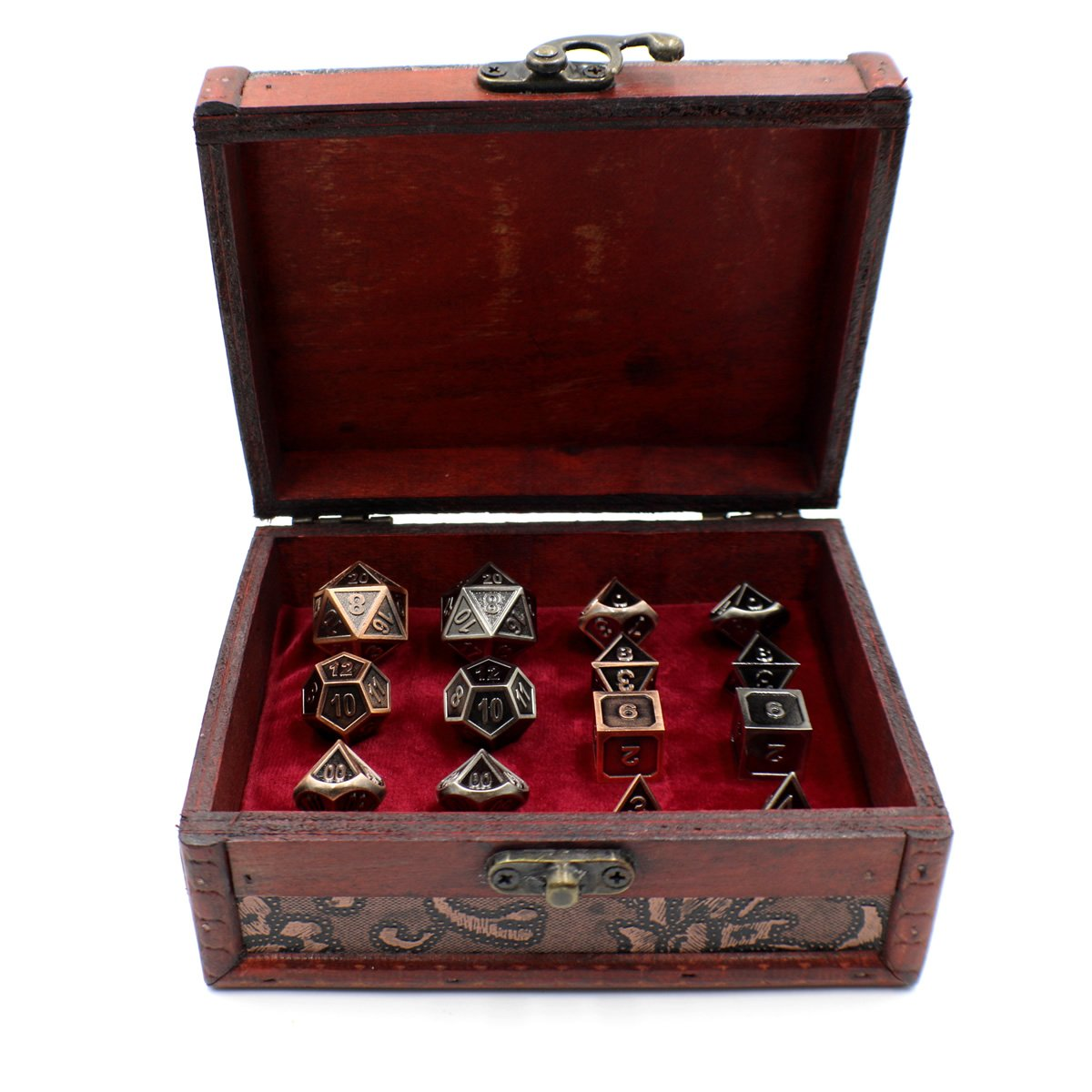 Two Metal Dice Role Playing Sets with Storage Chest for Tabletop Games