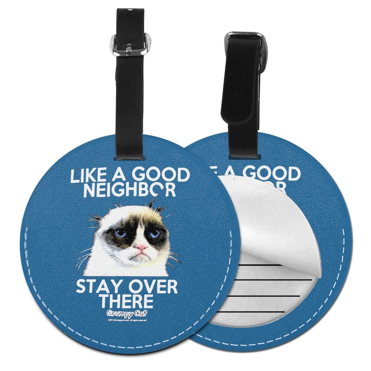 Grumpy Cat Good Neighbor Pu Leather Double Sides Print Round Luggage Tag Mutilple Packs 1pcs,2pcs,4pcs