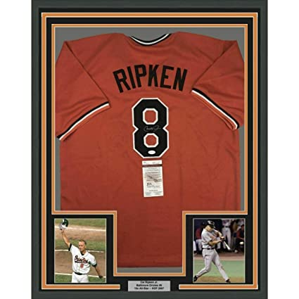 6ba92b1f1 Image Unavailable. Image not available for. Color  Cal Ripken Jr. Signed  Jersey - FRAMED 33x42 Orange COA - JSA ...