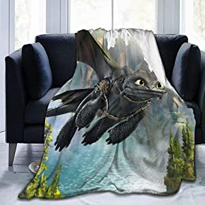 Funny Fleece Bed Blankets, How to Train Your Dragon Toothless Flying Personalized Throw Blankets, Washable Ultra Cozy Party Blanket Fit Girls Chair Dorm Room