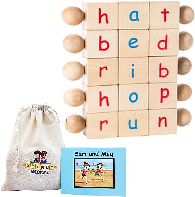 5Pcs Montessori Phonetic Reading Matching Letter Game Education Building Block
