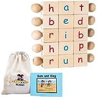 Montessori Alphabet Beginning Reader Letter Blocks, Phonics Games and Toys for Kindergarten Age Boys and Girls, Best…