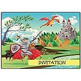 12 cartes d'invitation anniversaire enfant Chevalier // cartes invitations chateau filles garçons enfants carte invitation invitations cartes assortiment de cartes dragon garcon