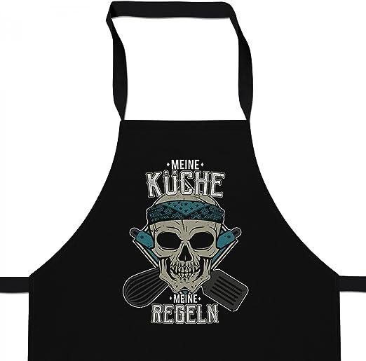 Fashionalarm Schürze Küche - Meine Regeln  Grill & Kochschürze mit  Totenkopf Motiv & lustigem Spruch Küchen Chef Koch Kochen Hobby
