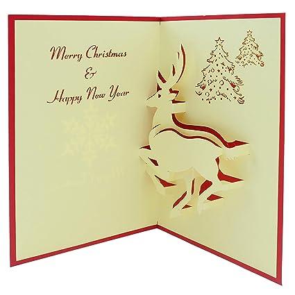 Reindeer Christmas Cards.Amazon Com Popup Card Cute Reindeer 3d Pop Up Card 3d