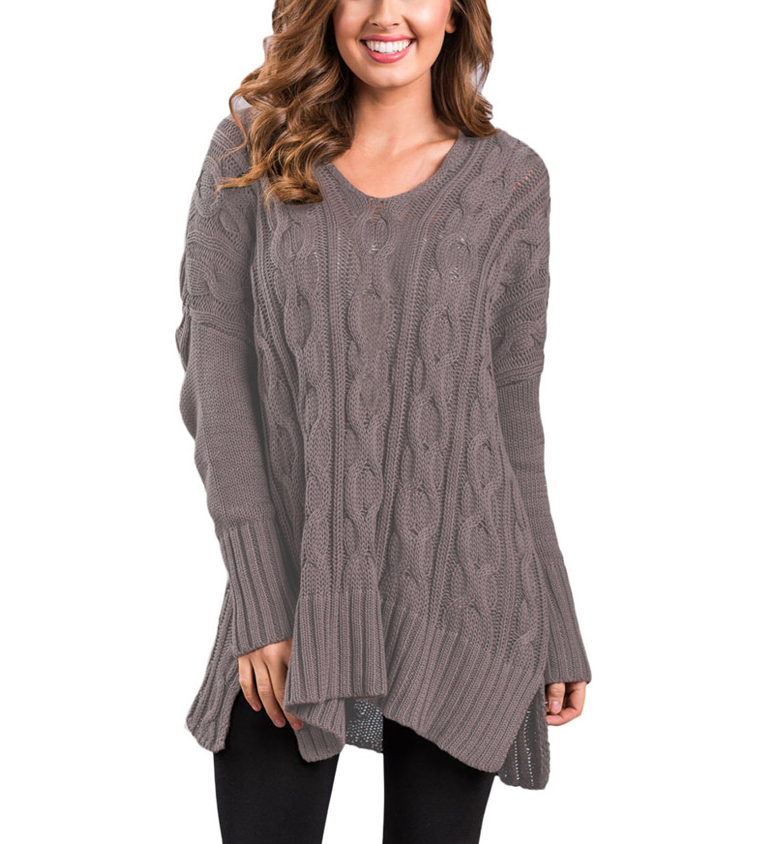 Fuwenni Women's Long Sleeve Oversized Casual V Neck Loose Fit Cable Knit Sweater Pullover Jumper Coffee XXL