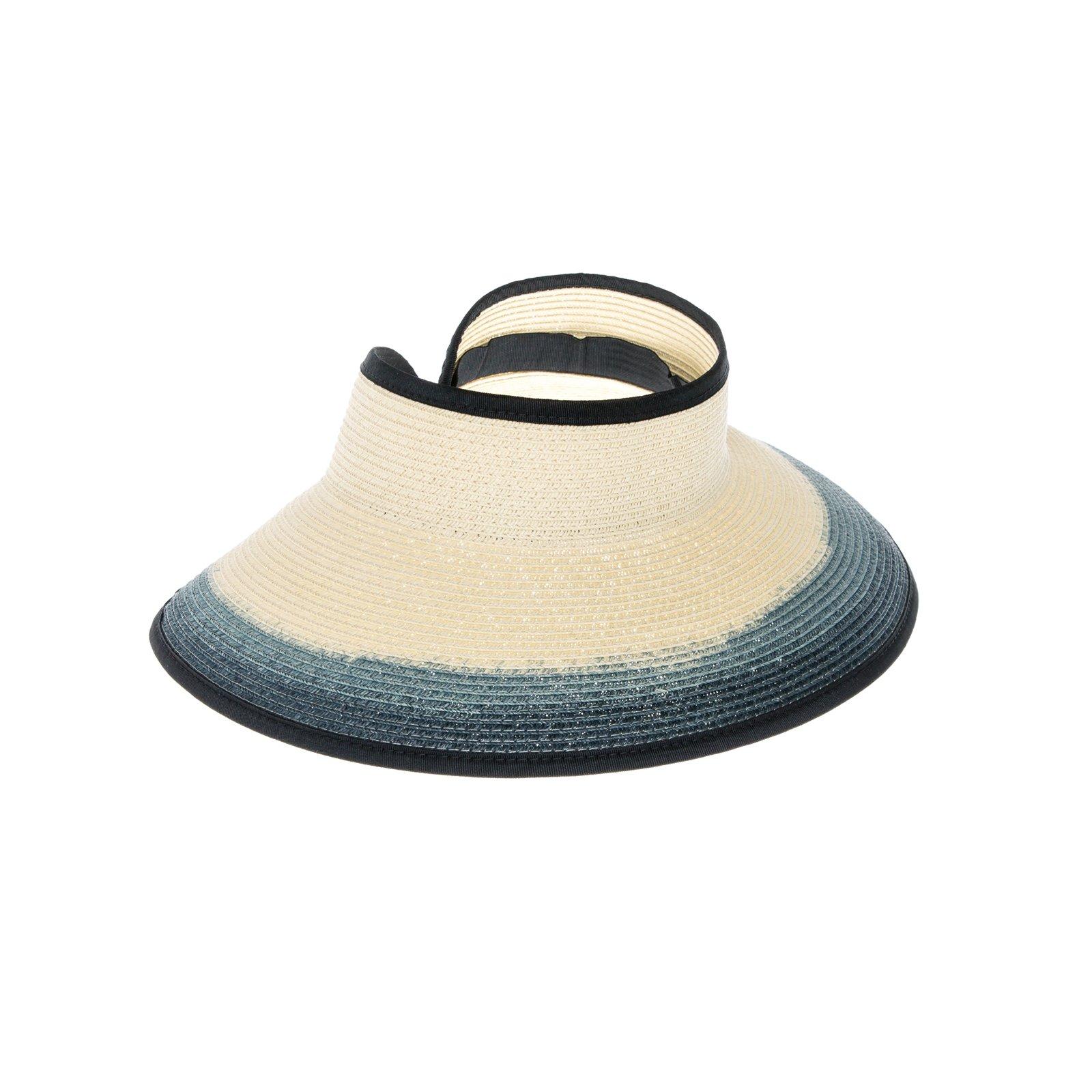 HatQuarters Wide Brim Roll-Up Sun Beach Visor, Large Floppy Ombre Straw Ponytail Visor (Black)