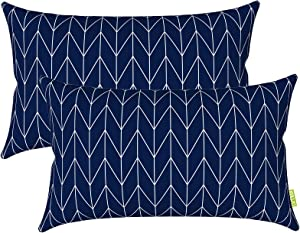 LVTXIII Outdoor/Indoor Lumbar Pillow Covers, Patio Garden Decorative Lumbar Pillow Covers, All Weather Cushion Cases for Sofa, Patio Couch Decoration (12x20inch, 2 Pack, Resort Stripe Navy)
