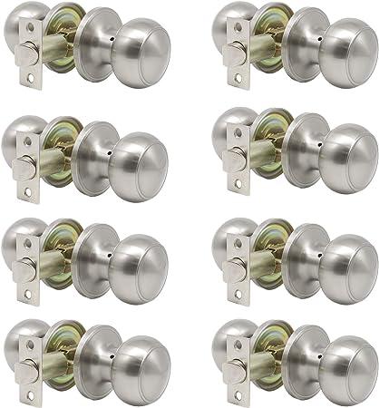 Satin Nickel Dummy Handlesets with Interior Knob Entrance Door Deadbolt Locks