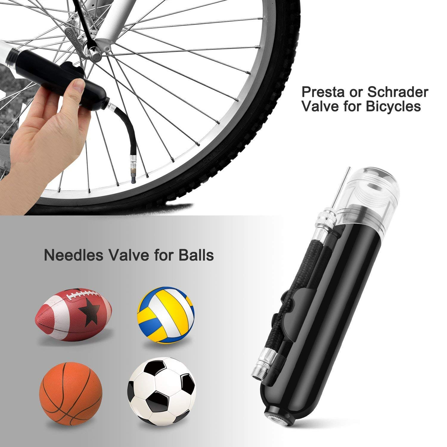Presta and Schrader Valve JRing Dual Action Ball Pump Volleyball Balloons Basketball Mini Bicycle Tyre Inflator Air Pump with 4 Needles and 3 Nozzles for Soccer Ball Bicycles