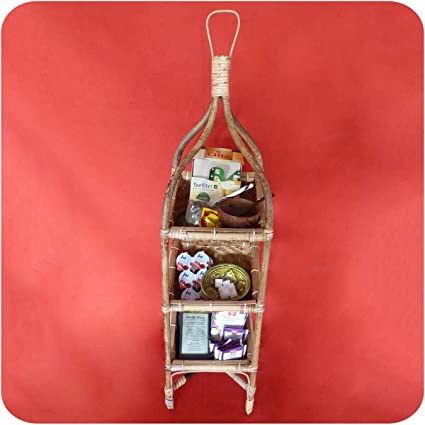 H/änge-Etagere Regal Dekorative Korbh/änger Simandra Rattan Korbregal Boho Unikat Bambus Korbetagere