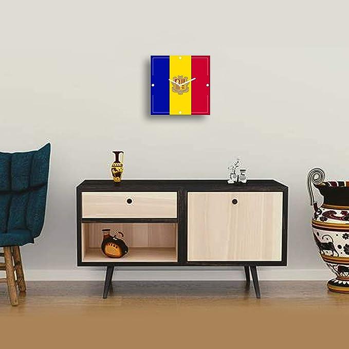 Brounti - Relojes de Pared - Banderas del Mundo - Andorra - decoración Moderno Clasico Cuadrado 30 c/m Moda hogar Cocina Comedor Sala de Estar Dormitorio ...