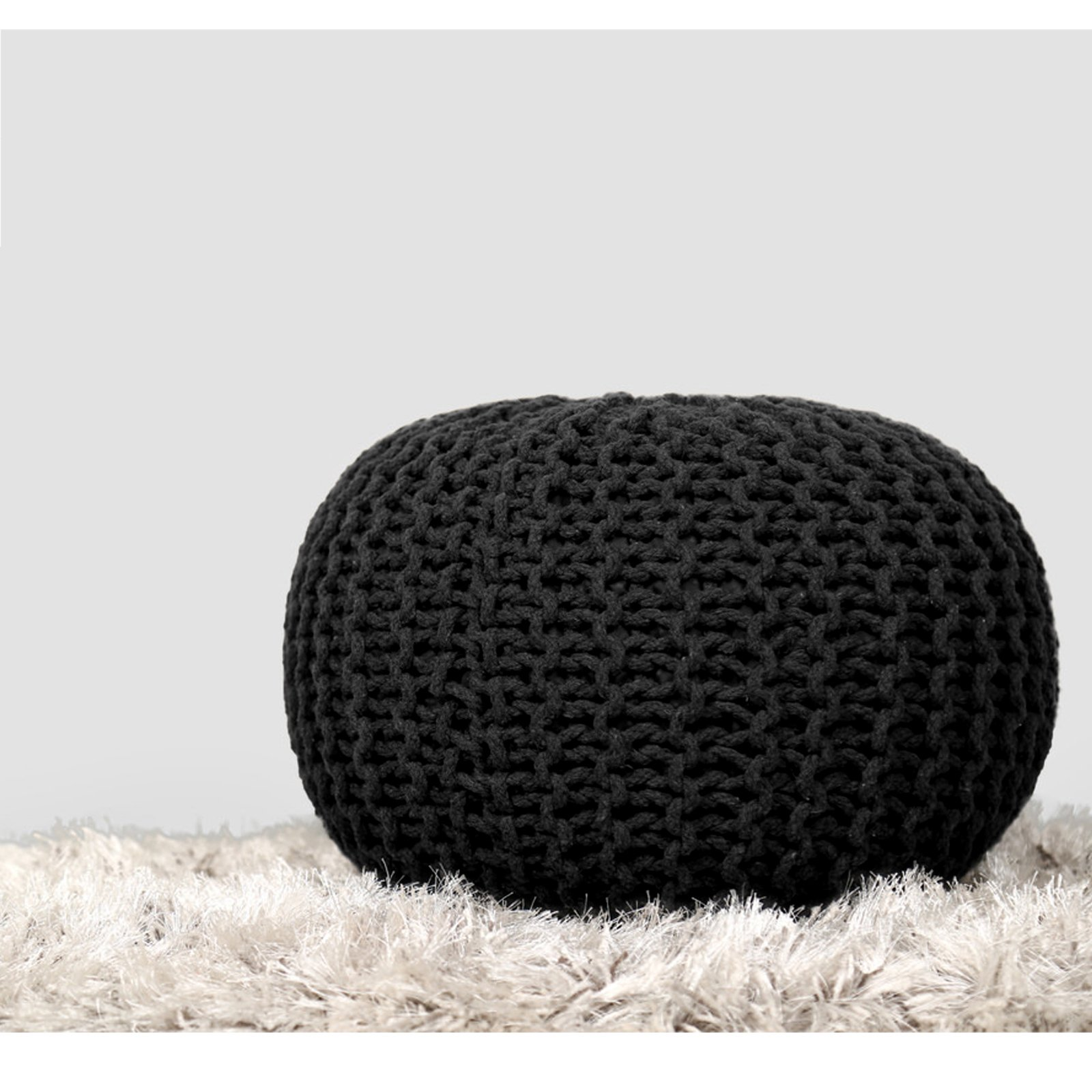 RAJRANG Hand Knit Pure Cotton Pouf - Black Braid Cord Stitched Round Ottoman Foot Stool Home Decorative Seat for Guests by RAJRANG