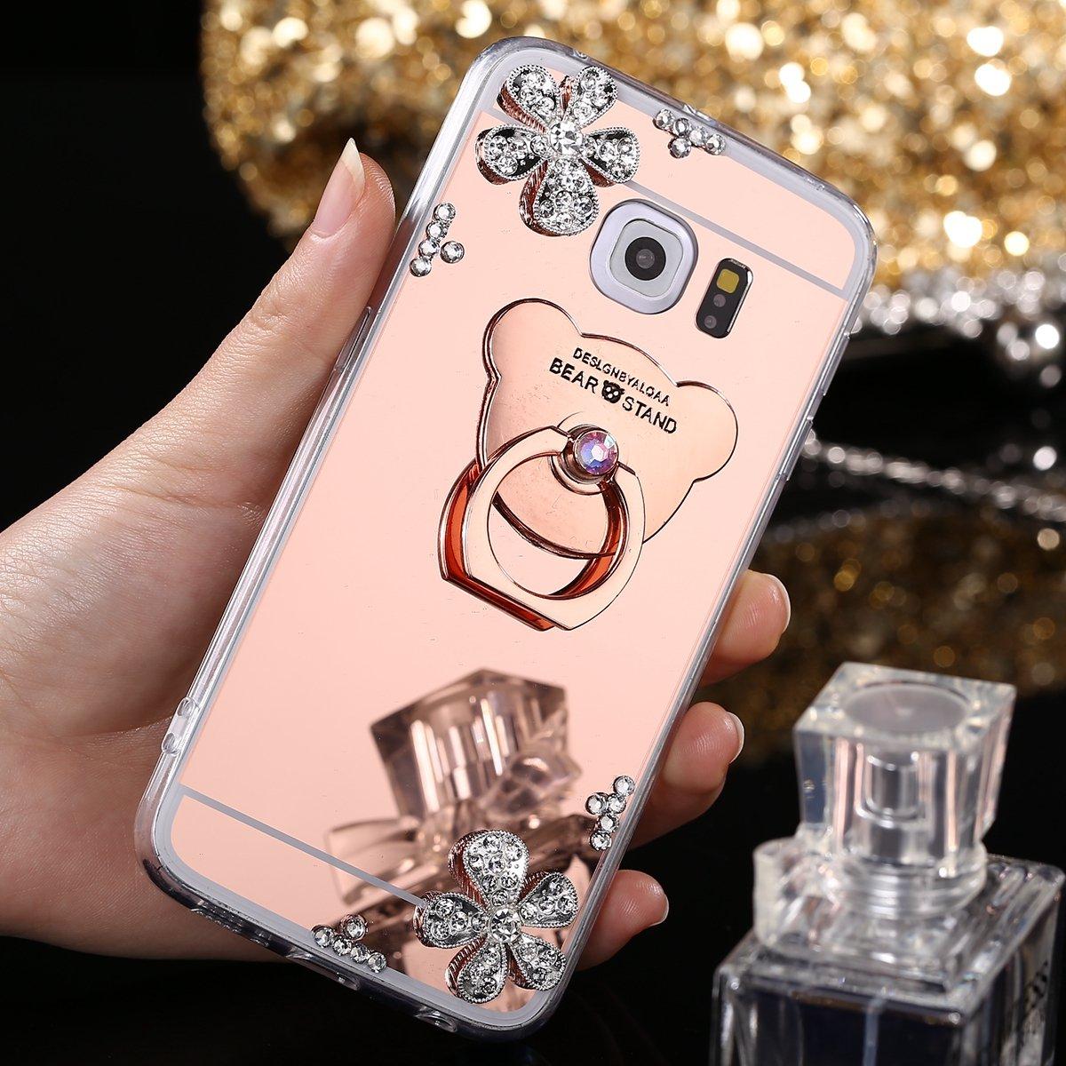 Coque Samsung Galaxy S6 Edge, EINFFHO Strass Floral Miroir Silicone Housse Étui pour Samsung Galaxy S6 Edge Case Cover [avec Ours Support Bague] Briller Rhinestone Diamant Maquillage Réfléchissant Placcatura Miroir Coque Samsung Galaxy S6 Edge Etui de Télé